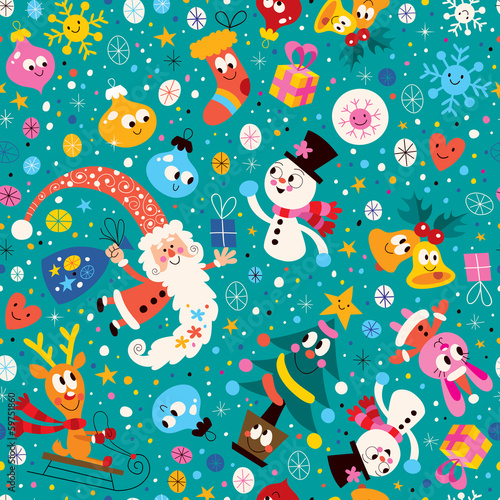 Materiał do szycia Merry Christmas and Happy New Year pattern