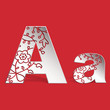 Vector 3D paper Aa letters with carved ornament