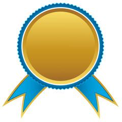 Blue and gold ribbons award, vector illustration