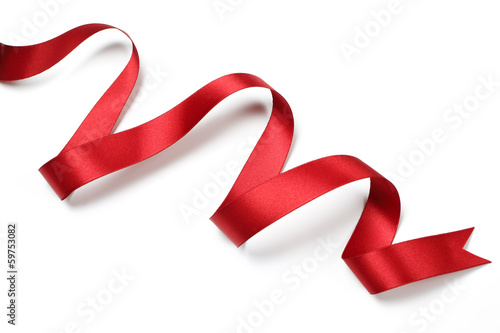 Red satin ribbon isolated