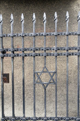 wrought iron entry gate to Jewish Museum Prague Czech Republic
