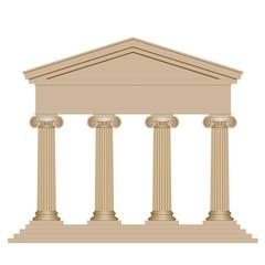 Façade d'un temple avec colonnes ioniques