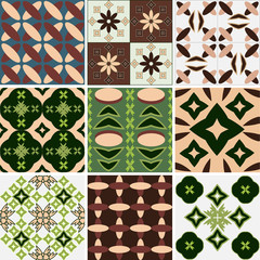 Set of Seamless Wallpaper geometric patterns