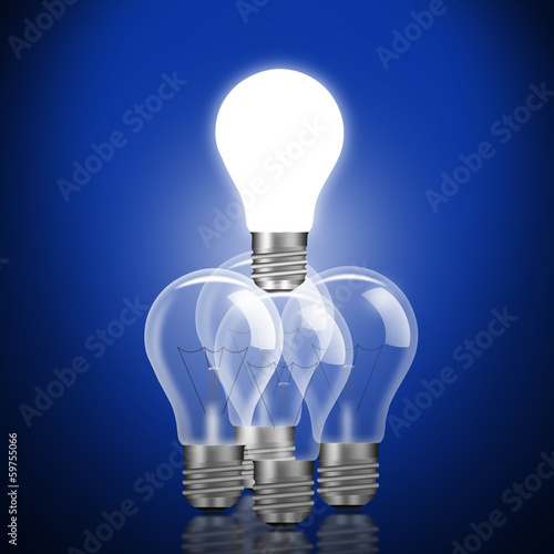 Teamwork with idea light bulbs
