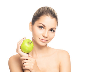 Portrait of a beautiful and sensual girl holding an apple