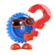 Plastic cog has a question mark symbol