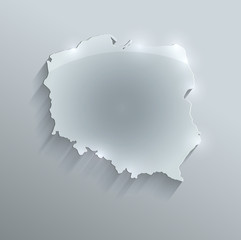Poland map glass card paper 3D