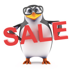 Academic penguin holds a Sale
