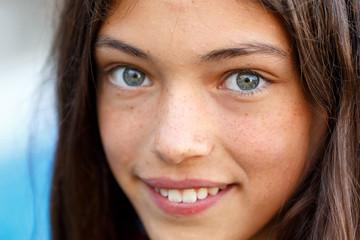 Closeup of a beautiful brunette girl