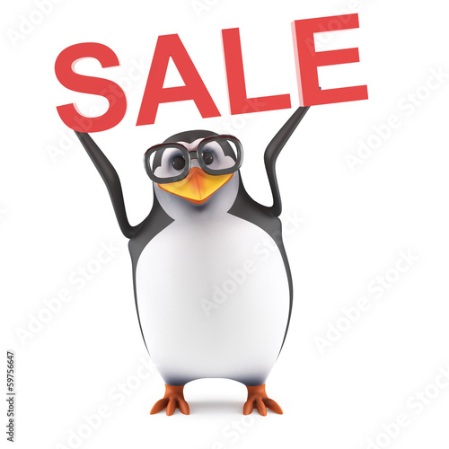 Academic penguin holds up a SALE notice