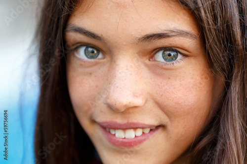 Closeup of a beautiful brunette girl