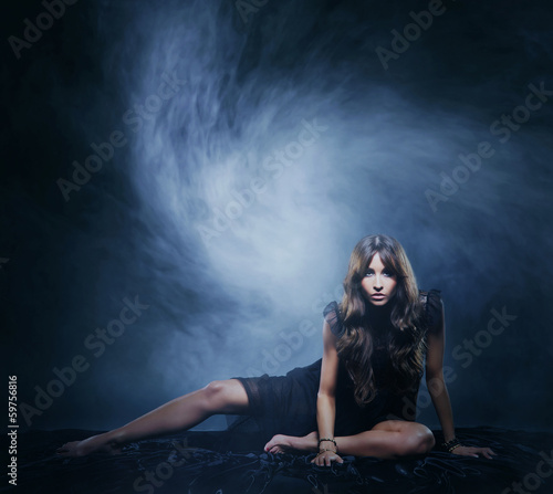 A beautiful and emotional girl on a blowing background