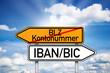 Wegweiser mit BLZ und IBAN/BIC