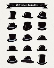 Hipster Retro Hats Vintage Icon Set, Illustartion, Black