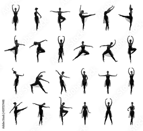 Different ballet poses. Silhouettes isolated on white