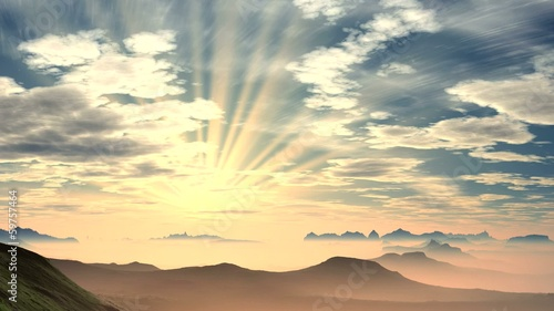Radiant sunrise over the mountains