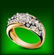 Gold ring with some diamonds. Vector
