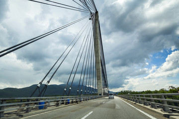 Modern bridge with wires