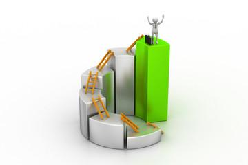3d man, person climbing ladder using  up to  bar chart