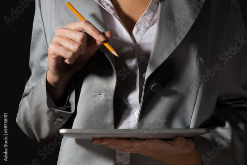 business woman with tablet and pencil