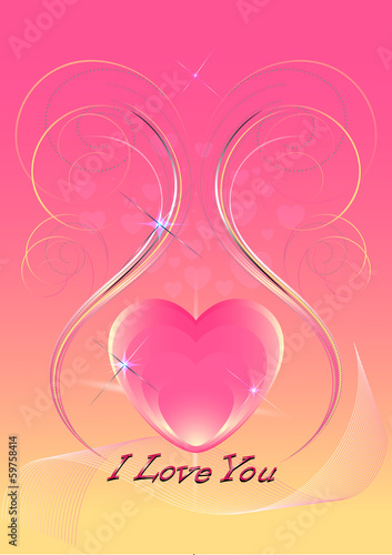 Pink hearts decorated with iridescent  curved  lines and sequins