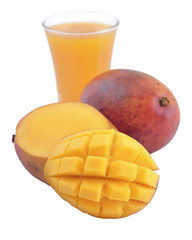 Mango and a glass of mango juice