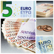 Composition of different euro bank notes and euro cent coins