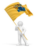 Man and flag of New Jersey (clipping path included)