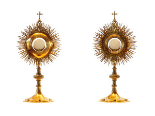 Liturgical vessel gold monstrance - isolated