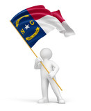 Man and flag of North Carolina (clipping path included)