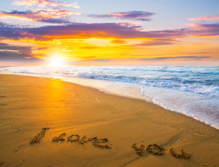 I love you on sand beach