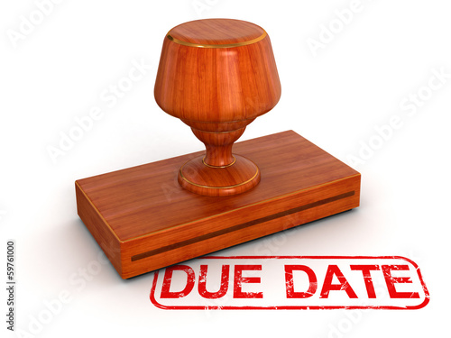 Rubber Stamp due date (clipping path included)