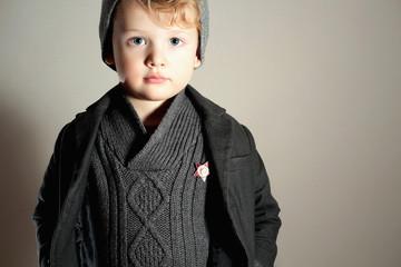 Fashionable Little Boy in Cap.Kid.Fashion Children.Winter Style