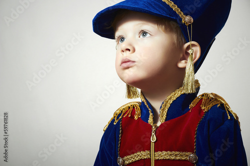 Little Boy in Carnival Costume.Children.Masquerade Soldier