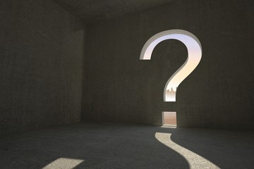 Question mark door in dark room