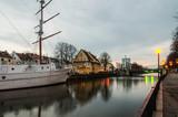 Klaipeda, Lithuania. Ship Meridianas,  symbol of city poster