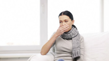 ill woman with flu at home