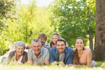 Extended family lying on grass in the park