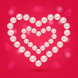 Pearl Heart on Pink Valentaine Day Background
