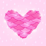 Pink Valentine Day Card with Wavy Heart