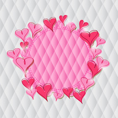 Pink Heart Label on Rhombus Pattern