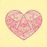 Decorative Vector Heart with Funny Pattern