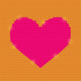 Red Knitted Heart on Purple Background