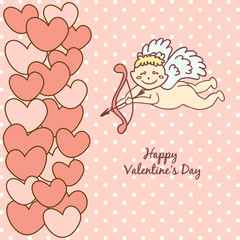 card Happy Valentine's Day, cupid