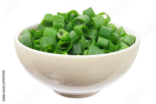 Chopped Spring Onions in Bowl