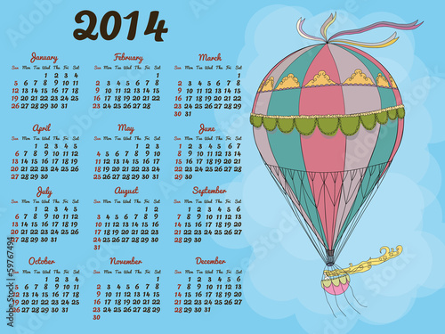 Calendar 2014 with a vintage balloon