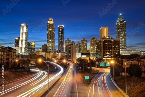 Plagát Atlanta downtown skyline during twilight blue hour