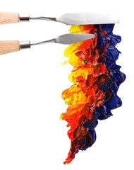 Painting palette knife with paint isolated on white