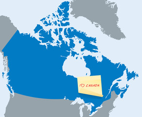 blue map of Canada with yellow stick note card