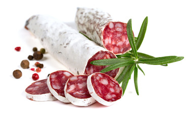 sliced salami isolated on white background